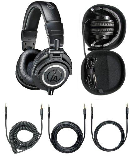 Audio-Technica Ath-M50X Professional Headphones - Black With Free Headphone Hard Case