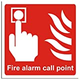 Fire Safety Sign - Fire Alarm Call Point Sign - Semi Rigid - 200x200mm(FI-029-RD)