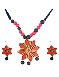 "ARTWOOD ""Red Rose In Nature"" Bead-fusion 3-piece TerraCotta Jewellery Set"