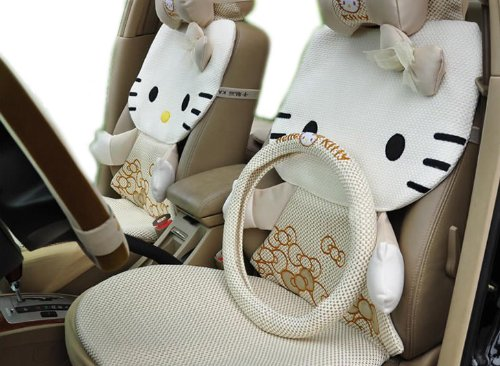 Promotion 3d Kitty Auto Car Rearview Front Rear Seat Saddle Cover 12pcs Kit EMS Shipping Zj000157
