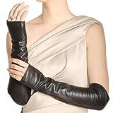 WARMEN Women Genuine Nappa Leather Elbow Long Fingerless Driving Gloves for Fur Coat