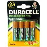 Duracell Supreme Akku (AA, HR6, 1,2 Volt, 2.400mAH) 4 Stück