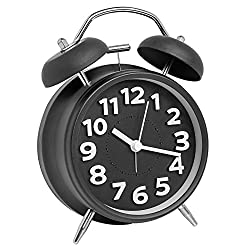 A2S Vintage Style Alarm Clock - Twin Bell, Analog & Battery Operated - Great for Heavy Sleepers and Travel (Black Classic, Round Shape)