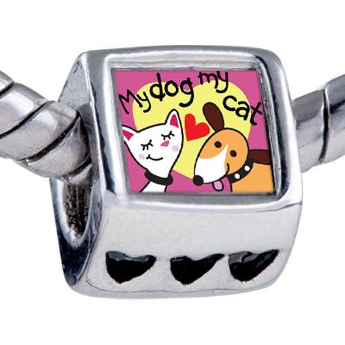 Pugster Silver Plated Photo Bead Dog Loves Cat Photo Beads Fits Pandora Bracelet