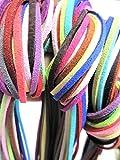 カラフル 革ひも スエード 20色 40本 60本 皮紐 アクセサリー レザークラフト 革紐 きれい (20色60本)