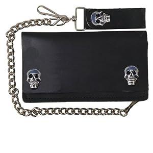 "Hot Leathers (WLA2004 BLACK, 6"") Skull Leather Wallet"