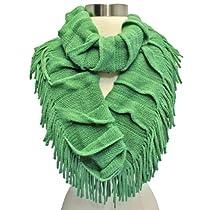 Luxury Divas Sage Green Soft Knit Ruffled & Fringed Circle Infinity Scarf