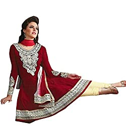 KALYANNAM RED Georgatte embroidery DRESS MATERIALS