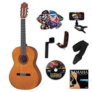 Yamaha CGS102AII 1/2 Size Classical Acoustic Guitar BUNDLE w/Legacy Kit(Tuner,Picks,DVD & Much More)