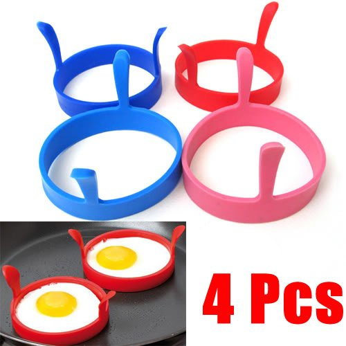 Easygoby 4 Pcs Kitchen Silicone Fried Fry Frier Oven Poacher Pancake Egg Poach Ring Mould Tool