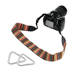 GTMax Classic Stripe Neck Shoulder Camera Strap with Triangle Strap Rings for Canon PowerShot N; Nikon D7100, 1 J3, 1 S1; Panasonic Lumix DMC-LZ30; Fujifilm X100S, X10, X20 and More Digital Cameras