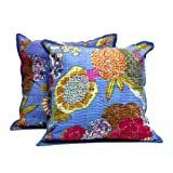 2 Light Blue Handmade Pillowcase Traditional Kantha Stitch Throw Pillow Cotton Cushion Covers
