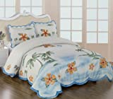 3 Pieces 3D White, Burgundy, Yellow, and Green Palm Tree with Hibiscus Comf ....