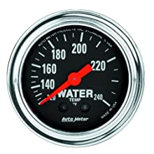 "Auto Meter 2433 Traditional Chrome 2-1/16"" Mechanical Water Temperature Gauge with 12' Tubing"
