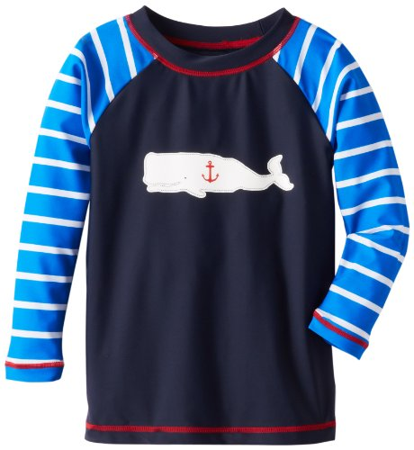 Hatley Little Boys' Little Boys' Rash Guard Boy Whales, Blue, 6 front-441625