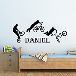 Wall Decals Custom Name Personalized Boys Name Jump Bike Cyclist BMX Freestyle Jumping Nursery Kids Wall Vinyl Decal Stickers Bedroom Murals