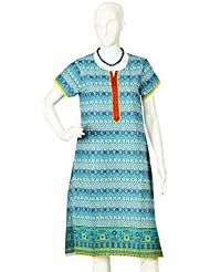 Artisan Crafted Short Sleeve Cotton Kurta With Mughal Inspired Geometric Print(Blue)