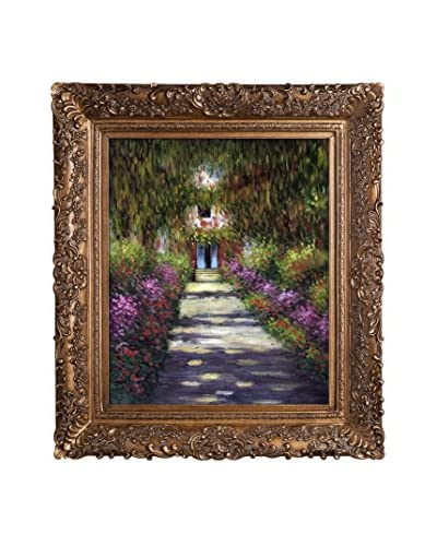 Claude Monet's Garden Path At Giverny Framed Hand Painted Oil On Canvas