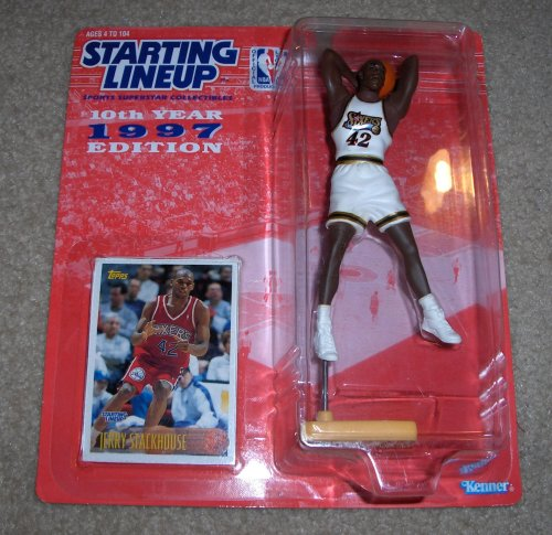 1997 - Kenner - Starting Lineup - 10th Anniversary - NBA - Jerry Stackhouse #42 - Philadelphia 76ers - Vintage Action Figure - w/ Topps Trading Card - Limited Edition - Collectible