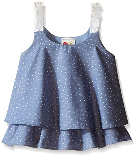 Kiddo Little Girls Two Layer Cami, Denim, Large