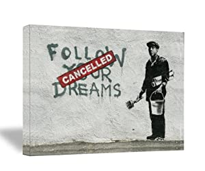 """Banksy """" Follow Your Dreams """"18x24"""" Gallery Wrapped Canvas"""