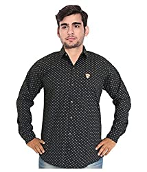 7 Buttons Men's Casual Shirt (s006_Black_Large)