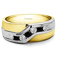 buy Twisted Channel Set Mens Wedding Ring Or Unique Mens Fashion Ring With 0.48 Cts Of Black And White Cz In Two Tone Silver