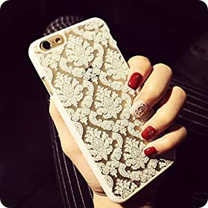 Iphone 6 Case, Baroque Retro Court Lace Pattern Texture Hard Plastic Clear Case for Apple Iphone 6 4.7 Inch Damask White