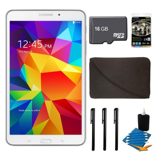 "Samsung Galaxy Tab 4 White 16Gb 8"" Tablet, 16Gb Card, And Case Bundle - Includes Tablet, 16Gb Micro Sd Memory Card, 10"" Sleeve For Tablets, Audio Earbuds With Microphone, 3 Stylus Pens With Pocket Clip, And 3Pc. Lens Cleaning Kit"