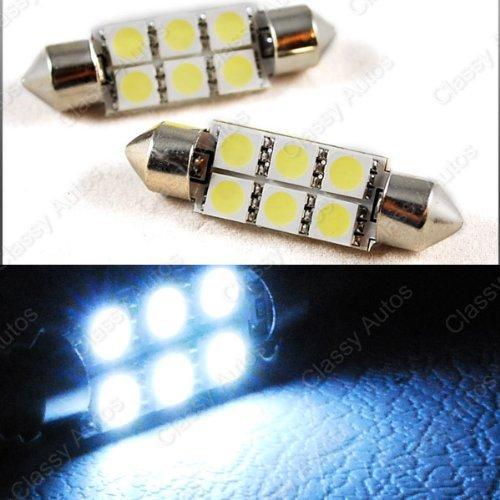 Classy Autos 36mm Festoon 6 LEDs SMD LED Bulb White for 3021 DE3021 6411 6413 6418 DE3423 DE3425 Replacement (A Pair) (Classy Autos White Led Bulbs compare prices)