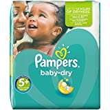Pampers Windeln Baby Dry Gr. 5+ Junior Plus 13-27 kg Monatsbox, 1er Pack (1 x 132 Stück)