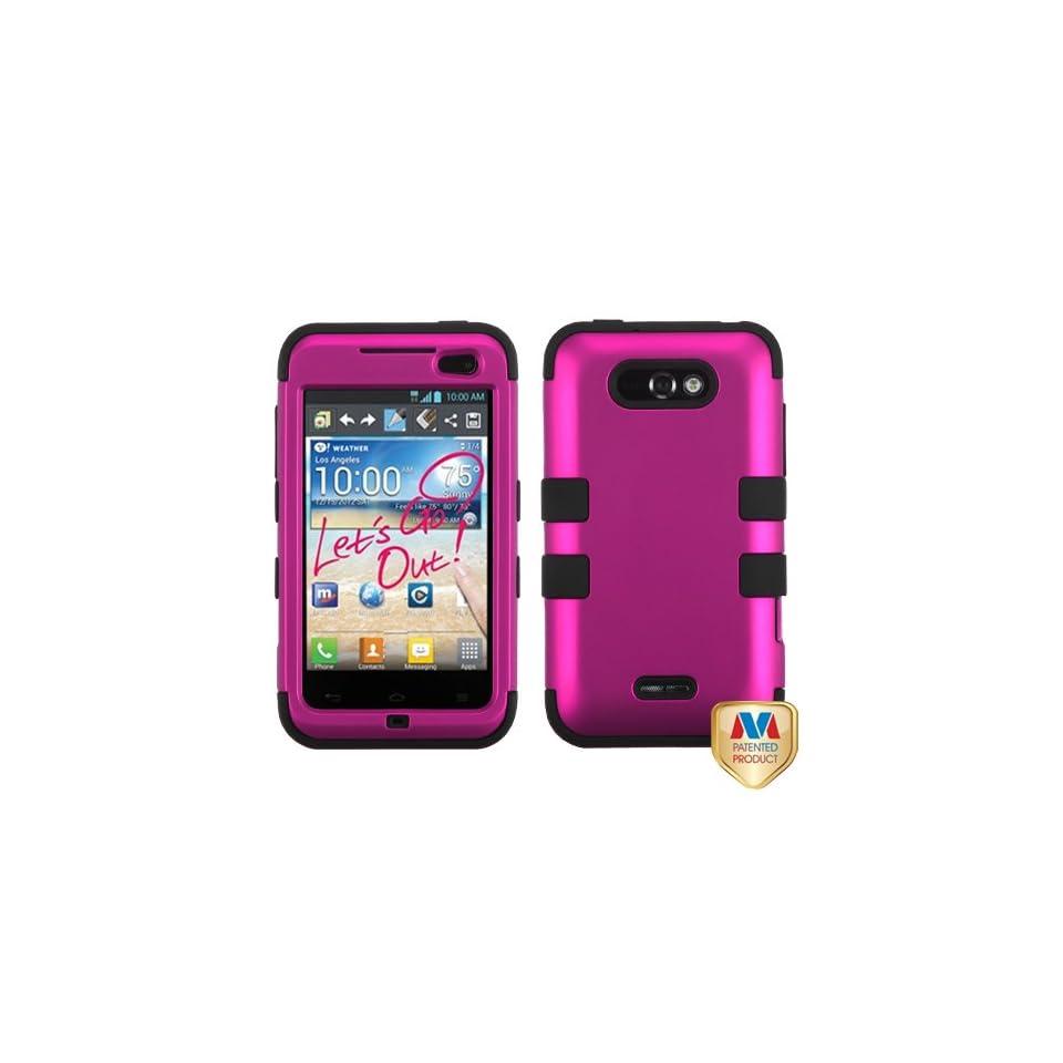 MyBat LGMS770HPCTUFFSO004NP Titanium Rugged Hybrid TUFF Case for LG Motion 4G/Optimus Regard   Retail Packaging   Hot Pink/Black