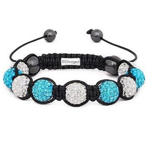 Shamballa Bracelet with Blue & White Crystal Disco Balls