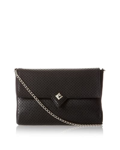 Possé Women's London Cross-Body, Black Perforated As You See