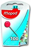 Maped Map Pins in Reusable Plastic Case, 100 Pins per Box, Assorted Colors (346011ZC)