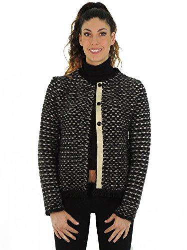 Kaos maglia cardigan donna FI1FP076 (L, NERO/BEIGE)