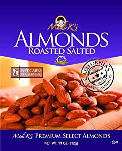 Madi K's Roasted and Salted Almonds, 11-Ounce Pouches (Pack of 4) from Madi K's