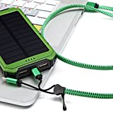 Solar Charger Eco-daily with 10000mah Dual USB Solar Charger Waterproof Solar Power Bank / Backup Battery Charger for Android Cell Phone, Solar Power Bank for Iphone 6 Ipad Green