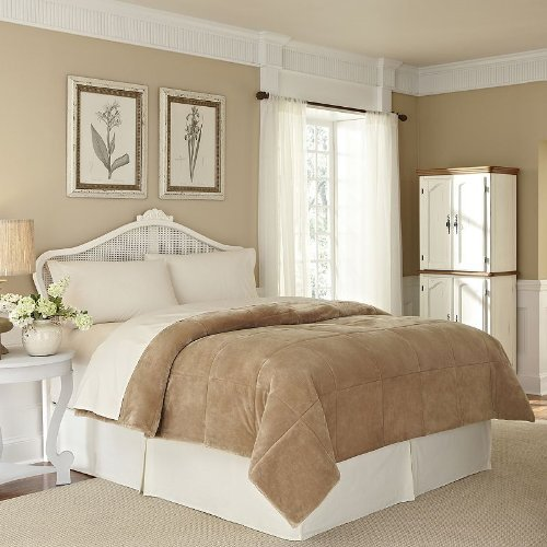 Vellux Plush Lux Blanket (King) (Sand)