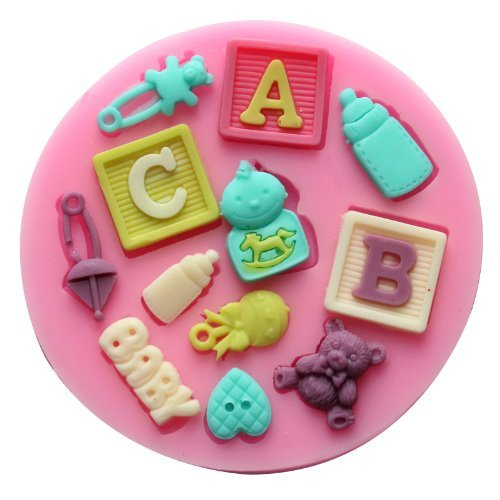 Dgi Mart Dessert Decorating Cake Toppers Diy Silicone Making Mold Tray Candy Making Molds Baby Letter Silicone Fondant Sugar Pudding Mini Mold Craft Mold Diy Cake Cookie Decorating Mold Tray front-594831