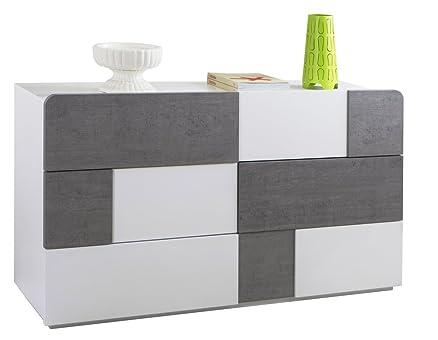 Cassettiera con 6 cassetti colore bianco e grigio cemento - linea Arcora
