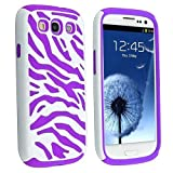 MagicSky Plastic Silicone Hybrid White Zebra Pattern Case for Samsung Galaxy III S3 i9300 - 1 Pack - Retail Packaging - Purple