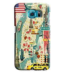 Blue Throat Road Map Printed Designer Back Cover/Case For Samsung Galaxy S7