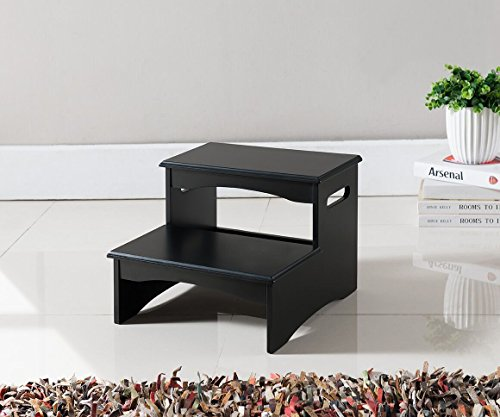 Kings Brand Furniture Black Finish Wood Bedroom Step Stool Dealtrend