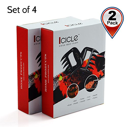 Icicle Outdoor Barbecue Grill Smoking Tool\Pulled Pork Shredder Claws (Set of 4,2 Packs), FDA Approved Heat Resist, Perfect for Fast Meat Shred Handle & Carve, Turn Lift Tong Pork Beef Brisket Poultry from Grill Smoker Oven or Slow Cooker Safely, BBQ Meat Handler Forks \ Bear Claw Paw for Kitchen, Black