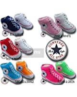 INFANT BOOTIES BABY UNISEX CONVERSE SOCKS CN00 029 2 PAIRS 2 COLOURS PER BOX (0-6 MONTHS, RED AND WHITE)