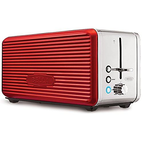 BELLA LINEA 4 Slice Long Slot Toaster with Extra Wide Slot, Color Red (4 Slice Toaster Color compare prices)
