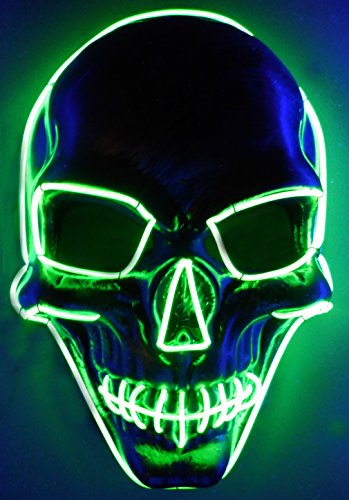 Skull LED Mask, El Wire Rave Mask, Glow Light up Halloween Party Mask – Turnneon