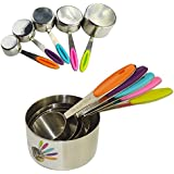 Ipow 5 PCS Solid Sturdy Stainless Steel Stackable Measuring Cups Set to Measure Dry and Liquid Ingredients with Soft Handles,for Kitchen Cooking Baking