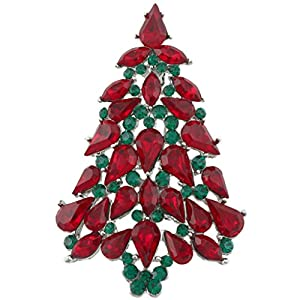 Ever Faith Christmas Tree Teardrop Red Green Austrian Crystal Brooch Silver-Tone A02339-14